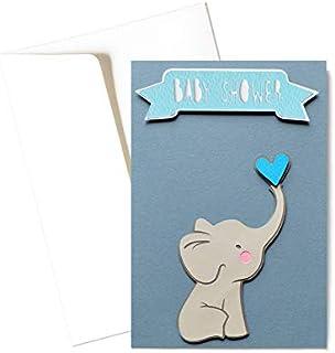 Baby shower boy - elefantino - fiocco azzurro - bambino - biglietto d'auguri (formato 15 x 10,5 cm) - vuoto all'interno, i...