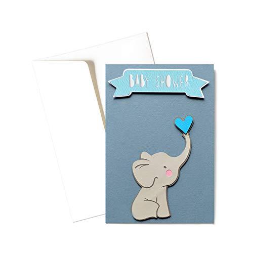 Baby shower boy - elefantino - fiocco azzurro - bambino - biglietto d'auguri (formato 15 x 10,5 cm) - vuoto all'interno, ideale per il tuo messaggio personale - realizzato interamente a mano.