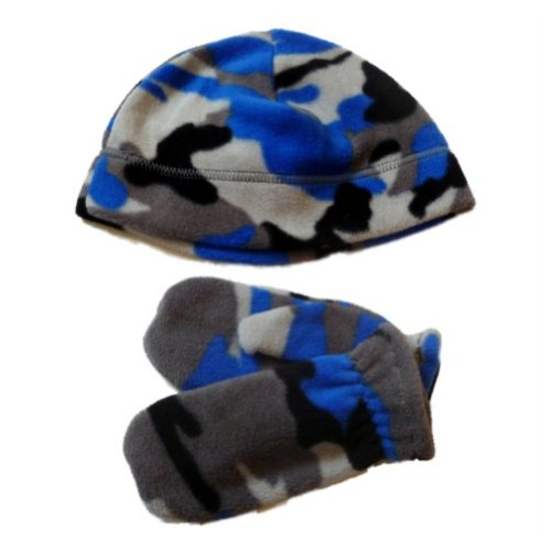 Faded Glory Toddler Boys Gray & Blue Cammo Beanie & Mittens Fleece Hat Set