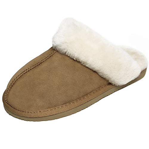 Hausschuhe Damen Schaffell Slipper Frauen 100% Lammfell Plüsch Winter Warm Atmungsaktiv Pantoffeln Fell Schuhe Braun Schwarz Grau Größe 36-42EU,BR-38