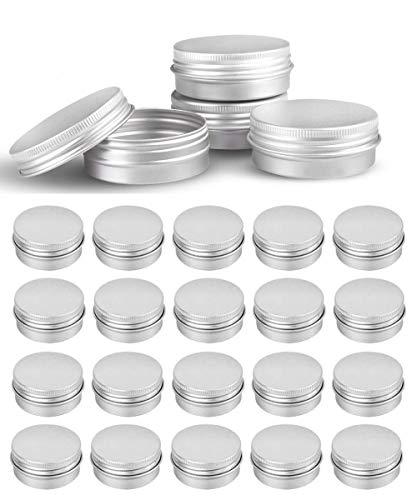 24Pcs 1Oz Tins Silver Aluminum Tins Cans Screw Top Round Steel tins Cans with Screw Lid Screw Lid Containers