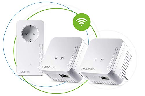 Devolo - Adaptador de Red Magic 1 WiFi Mini Multiroom Kit (2 x Magic 1 WiFi Mini, 1 x Magic 2 LAN), Ethernet, Powerline, 1200 Mbps, Blanco