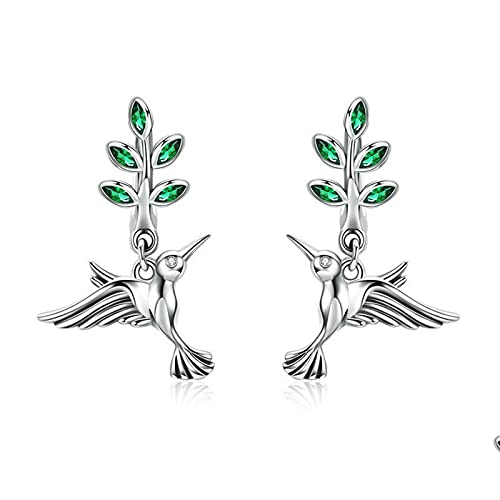 DJDEFK Aretes 925 Sterling Silver Hummingbirds Saludos Pájaros Pendientes Pendientes para Mujeres Pendientes de Moda Joyería Pendientes de Aro