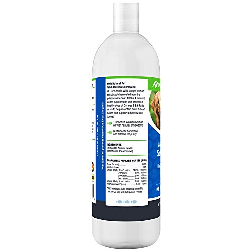 Only Natural Pet Wild Alaskan Salmon Oil for Dogs & Cats - Omega 3 & 6 Liquid Food Supplement for Pets - EPA & DHA Fish Oils, All Natural Joint Support, Promote Healthy Skin, Coat & Heart