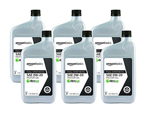 AmazonBasics Full Synthetic Motor Oil, SN Plus, 0W-20, 1 Quart, 6 Pack