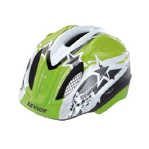 LEVIOR Primo Lizenz Stars Fahrradhelm Helm (Green Stars / grün, 52-58 / M)