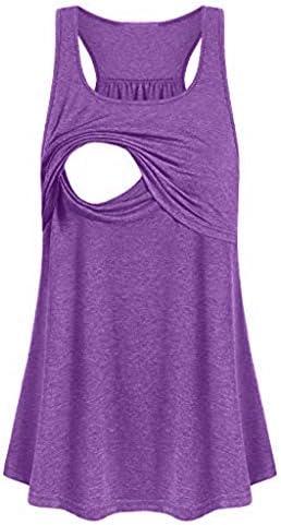 ZEFOTIM Women Maternity Loose Comfy Pull up Nursing Tank Tops Vest Breastfeeding Shirt Purple product image