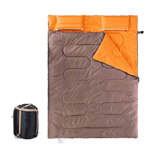 YLKCU Saco de Dormir Doble para mochilero, Camping, Senderismo y Clima frío, portátil, Impermeable y Ligero, Saco de Dormir para 2 Personas para Adultos y Adolescentes