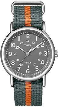 Timex Unisex T2N649 Weekender 38mm Gray/Orange Stripe Nylon Slip-Thru Strap Watch