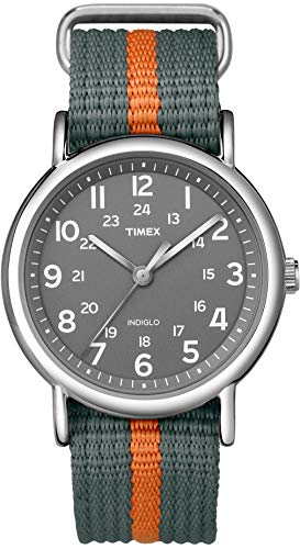 Timex Unisex T2N649 Weekender 38mm Gray/Orange Stripe Nylon Slip-Thru Strap Watch