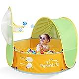 Peradix Baby Zelt Pop Up Bällepool ,Tragbare Kinder Spielzelt Bällebad Sonnenschutz Zelt Indoor Outdoor Baby Planschbecken Strand Baldachin Zelt Garten (Grün + Gelb)