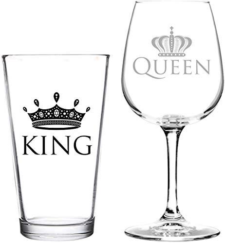 Set di 2 bicchieri da vino e birra con scritta in lingua inglese 'Born for-Anime incisione, King and Queen', regalo divertente per lui e lei o per marito o moglie, per coppia, novembre, anniversari