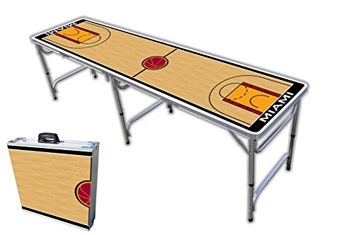 Find Bargain 8-Foot Professional Beer Pong Table - Miami Basketball Court Graphic