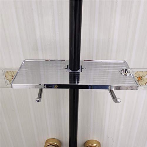 yuery Gold Space - Cesta de ducha de aluminio con ganchos para montaje en pared para barra de ducha, estante de almacenamiento para baño, organizador de champú, color plateado