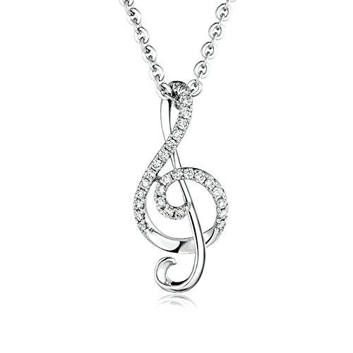 Echte Schmuck 18K Gold Damen Halskette Musik Notenschlüssel & Diamant(0.59ct) Silber Anhänger Halskette Silber Platin Kette 45CM (2.6G)