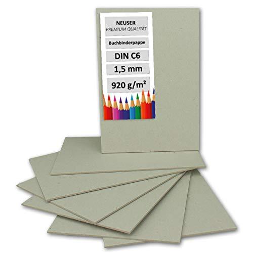 Cartón de encuadernación de 1,5 mm - Cartón extremadamente resistente, color DIN C6 gris y marrón – 1,5 mm. 10 unidades