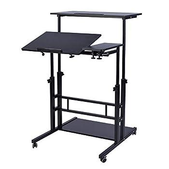AIZ Mobile Standing Desk Adjustable Computer Desk Rolling Laptop Desk Cart on Wheels Home Office Computer Workstation Portable Laptop Stand Tall Table for Standing or Sitting Black