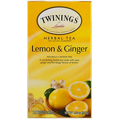 Twinings 2798343 Lemon & Ginger Herbal Tea Bags 25/Box