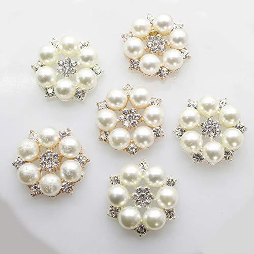 XINGPENGME Boutons de Mode Perle Strass Flatback Boutons Shell Alliage Acrylique DIY Accessoires de Mariage Bow téléphone Mobile Accessoires Cheveux (Color : Mixed Color)