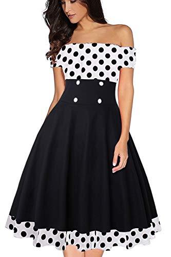 Axoe Damen Schulterfrei Kleid 50er Jahre Rockabilly Gepunktetes Weiß mit Schwarz Gr.44