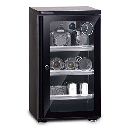 LXDDP Gabinete seco deshumidificador 50L, Lente cámara y Caja Almacenamiento Equipos electrónicos, Estante Ajustable, Reloj mecánico con Temperatura y Humedad