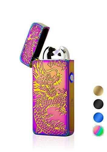 TESLA Lighter T08 Lichtbogen-Feuerzeug, elektronisches USB Feuerzeug, Double-Arc Lighter, wiederaufladbar, Drache Regenbogen