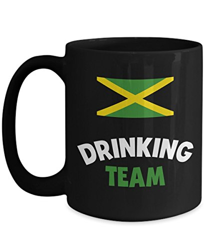 Jamaica Drinking Team Big Mug Acrylic Coffee Holder Black 15oz Alcohol Wine Liquor Drinker Funny Beer Olympics Cup