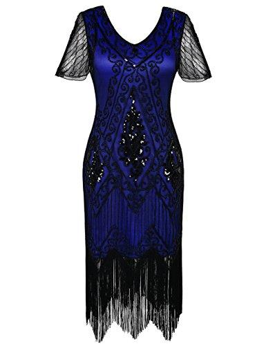 PrettyGuide Women's 1920s Flapper Dress Fringed Great Gatsby Dress M Black Blue