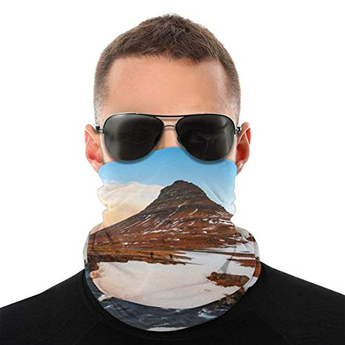 BDGAjdka Famous Mountain with Waterfalls In Iceland Face Face Scarf Seamless Bandanas Multifunctional Headwear for Men Women