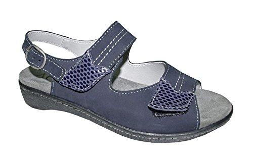 ACO Damen Sandale blau Wally Größe 36-42, Leder, Wechselfußbett, Damen Größen:42, Farben:blau