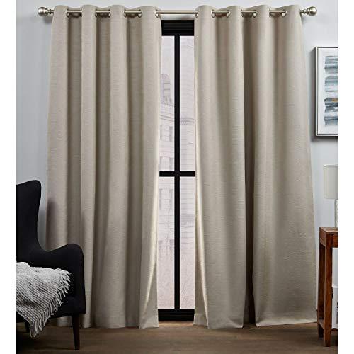 Exclusive Home Curtains Bensen Blackout Grommet Top Curtain Panel Pair, 52x84, Latte