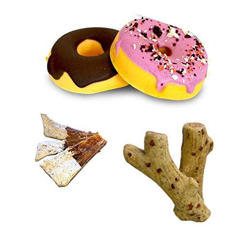 SNACK - Pack Natural para Perros Donuts, Hueso Masticable y Tendón Ternera Recubierto - Sin conservantes | ANIMALUJOS ⭐