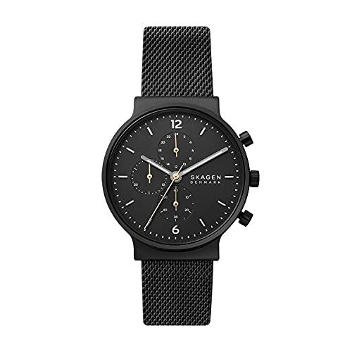 Skagen Men's Ancher Chronograph Black-Tone Stainless Steel Mesh Watch (Model: SKW6762)