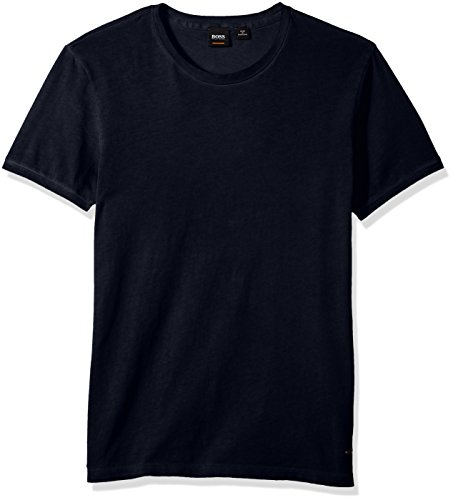 BOSS Orange Men's Troy Crew Neck Short Sleeve Solid T-Shirt, Dark Blue, Extra Large