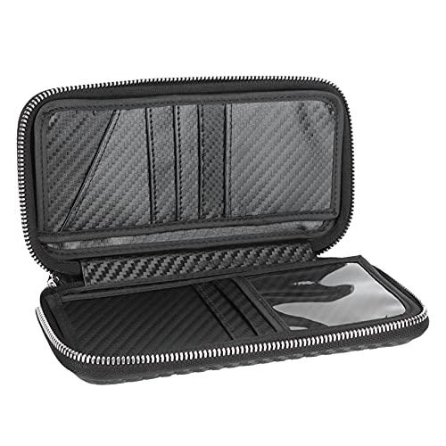 Cartera portátil con cremallera, bolsa de fibra de carbono para negocios, tarjetero, bolsa de 8.3x4.3x1.4in para almacenar cambios, fotos, tarjetas, certificados(negro)