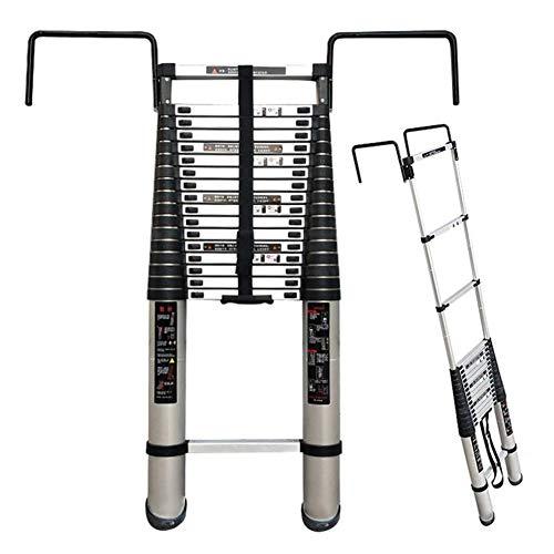 Escalera telescópica con ganchos ampliados, escaleras plegables y extensibles de aluminio para bricolaje, loft, techo, oficina, industrial, soporta 150 kg lxhff