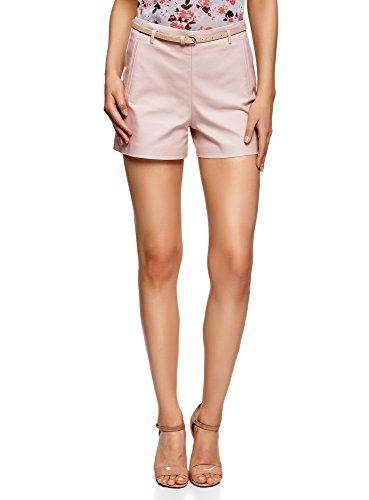 oodji Ultra Damen Baumwoll-Shorts mit Gürtel, Beige, Herstellergröße DE 40 / EU 42 / L