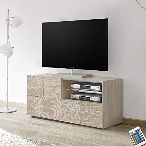 M-012 kleine tv-kast 120 cm met LED, modern, licht eiken ELMA 3, met verlichting