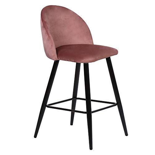 Nimara Alice - Taburete de bar de terciopelo con respaldo, taburete para bar y mostradores, taburete de bar para el comedor y la cocina, tela de terciopelo en gris, azul, rosa (rosa, 65)