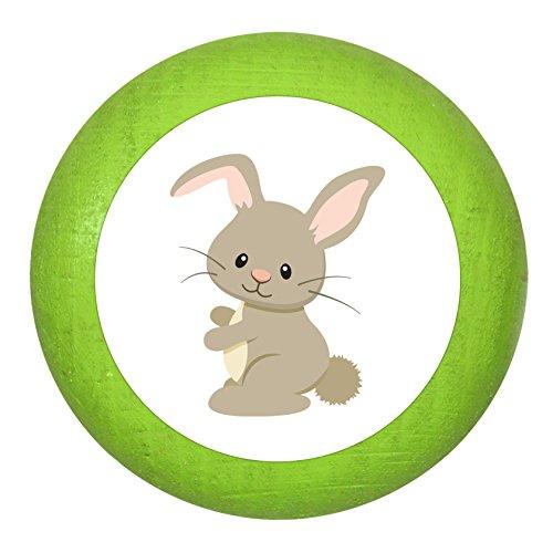Holzknauf Hase limette grün Holz Kinder Kinderzimmer 1 Stück Waldtiere