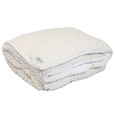 UBEQEO Removable Sensory Heavy Gravity Weighted Blanket - Soft Cream/White Minky Dots 15 lbs