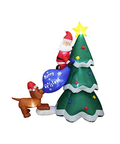 6 Foot Inflatable Christmas Santa Claus Climbing on Christmas Tree Chased by Dog Decoration