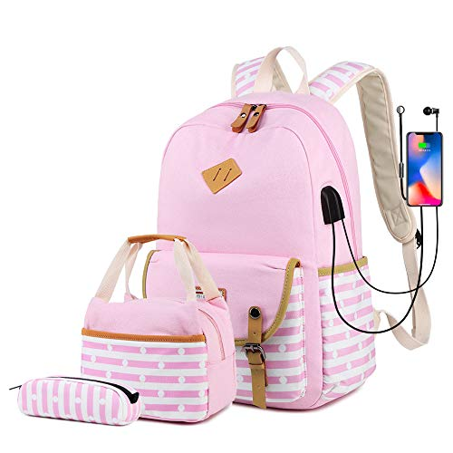 misognare Girls School Backpack Set Lightweight College Bookbag with USB Charging Port Casual Travel Daypack for Teens Boys Student (Pink)