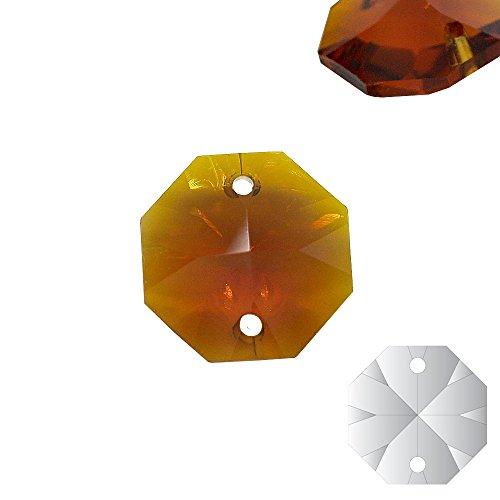 Christoph Palme 10x kristallen koppen Topaz 14 mm 2-gats barnsteen Octagon gekleurde achthoek stenen gordijn voor kroonluchter en hobby