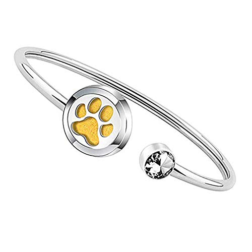 FEELMEM Dog Lover Gift Essential Oil Diffuser Bracelet Crystal Paw Print Charm Aromatherapy Locket Bracelet Engraving When I Needed A Hand I Found Your Paw (silver)