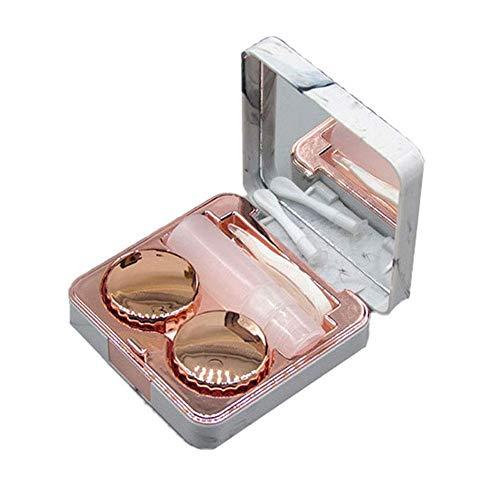 Hosaire 1x Mode Gläser Aufbewahrungsbox Platz Marmor-Muster Kontaktlinsenbehälter Kontaktlinsen-Etui 6.7 * 2.3cm