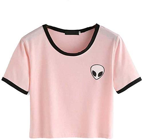 Crop Top Blusa, Tukistore Mujer Camiseta de Manga Corta Divertido Lindo Alien Crop Top Camiseta de Manga Corta Camiseta Casual Blusa Suelta Top Camiseta para Chica Adolescente