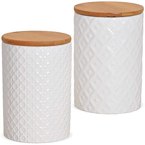 matches21 Vorratsdosen Porzellan & Holzdeckel Retro Muster Relief einfarbig weiß vielseitig einsetzbar 2er Set sort 800ml