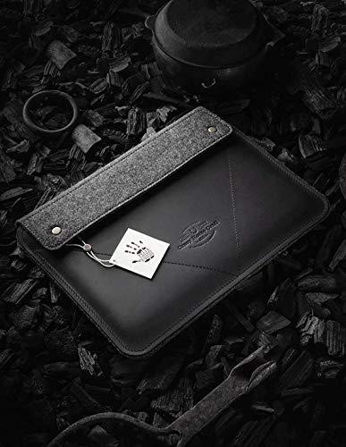 MacBook Pro 13/15 / 16 Zoll Etui/Hülle | Carbon Black, 100% Wollfilz, 2020 MacBook Air 13 Zoll Gehäuse, handgefertigt, einzigartig, Vintage echte Crazy Horse Leder-Laptoptasche, Crazy Horse Craft