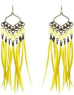 1 pair yellow slim Feather earrings bronze leaf chain bead dangle jewelry hot